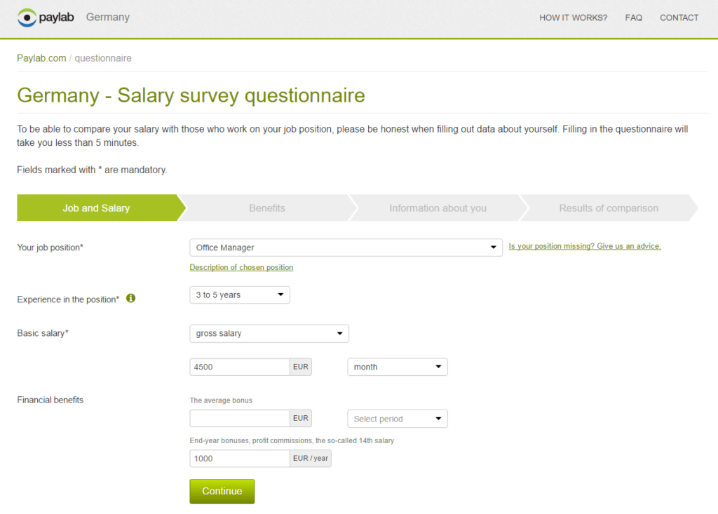 Germany - Salary survey questionnaire - Paylab.com